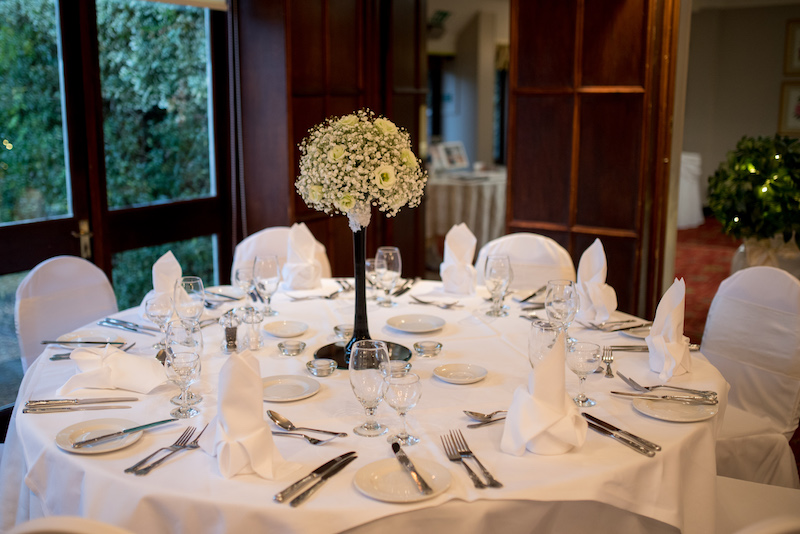 Wedding venue Petersfield with a single table decorated for wedding guests