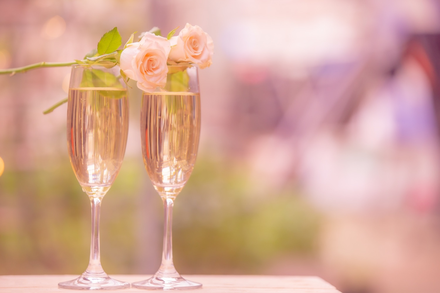 Champagne served at a civil ceremony wedding venue in Hampshire